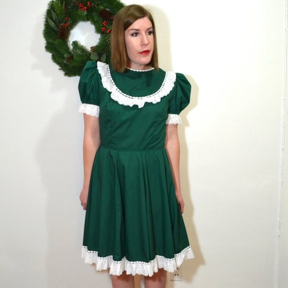 8711be74f185 Vintage Dresses | Hunter Green Christmas Square Dance Dress | Poshmark